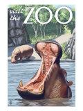 Visit the Zoo, Hippo Scene Lámina giclée prémium por  Lantern Press