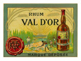 Rhum Val d'Or Martinique Brand Rum Label Art by  Lantern Press