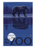Visit the Zoo, Bear in the Moonlight Pósters por  Lantern Press