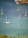 Yachts Anchor in British Harbor, Antigua, Caribbean Fotoprint av Alexander Nesbitt