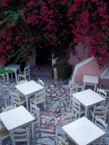 Restaurant Patio, Santorini, Greece Photographic Print by Keren Su