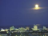 Moon over South Beach, Miami, Florida, USA Fotografie-Druck von Robin Hill
