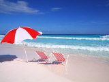 Lounge Chairs and Umbrella on the Beach Photographic Print by Bill Bachmann