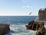 Cliff Diver Diving From El Mirador at Paseo Claussen, Mazatlan, Mexico Photographic Print by Charles Sleicher