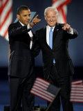 President-Elect Barack Obama and VP Joe Biden after Acceptance Speech, Nov 4, 2008 Photographic Print
