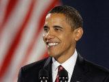 President-Elect Barack Obama Smiles During Acceptance Speech, Nov 4, 2008 Fotografisk tryk