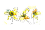 Three Yellow Flowers Affiches par Jan Weiss