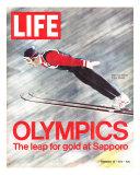 Olympics, Ski Jumper Yukio Kasaya, February 18, 1972 Valokuvavedos tekijänä John Dominis