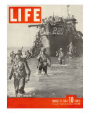 American Troops Wading Ashore from Landing Craft During the Invasion of Salerno, March 27, 1944 Photographic Print by George Rodger