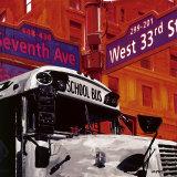 School Bus Kunstdruck von Vincent Gachaga