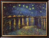 ローヌ河畔の星空(1888年) 額入りキャンバスプリント : フィンセント・ファン・ゴッホ