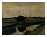 Landscape with a Stack of Peat and Farmhouses Giclee Print by Vincent van Gogh