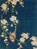 Bouvreuil sur une branche de cerisier pleureur, vers 1834 Affiches par Katsushika Hokusai