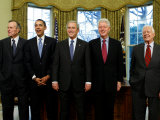 President-elect Barack Obama with All Living Presidents, January 7, 2009 Photographic Print