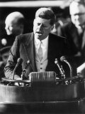 President John F. Kennedy Delivers Inaugural Address after Taking Oath of Office, January 20, 1961 Fotografisk trykk