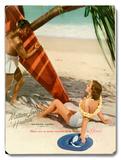 Matson Surf Couple Placa de madeira