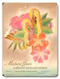 Matson Lines Women with Lei Advertisement Placa de madeira