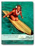 Surfer Girl - Buoyant Riding Waikiki Placa de madeira