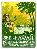 See Hawaii, Matson Navigation Co Placa de madeira