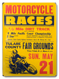 Motorcycle Races - Tulare County Placa de madeira