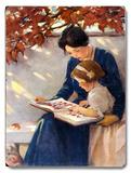 Mom and Daughter Reading Placa de madeira