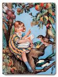 Girl Reading in Tree Placa de madeira