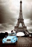 Diverse hoogtepunten van Parijs in één kleurrijk beeld Poster
