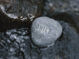 Stone with Word Smile in Water of Tranquil Stream Fotografie-Druck