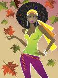 Woman in Retro Autumn Fashion Photo