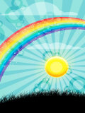 Rainbow and Sun over Country Field Foto