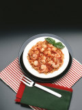 Plate of Traditional Italian Meal with Pasta and Seafood Photographic Print