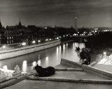 Paris, Cats at Night Posters av Robert Doisneau