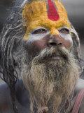 Sadhu, Shivaratri Festival, Pashupatinath Temple, Kathmandu, Nepal Lámina fotográfica por Jane Sweeney