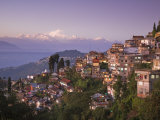 Darjeeling and Kanchenjunga, West Bengal, India Stretched Canvas Print by Jane Sweeney