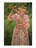 Baby Reaching for an Apple Reproduction procédé giclée par Mary Cassatt