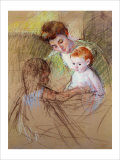 Sketch of Mother and Daughter Looking at the Baby Reproduction procédé giclée par Mary Cassatt