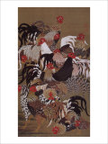 Japanese Rooster with Sunflower in Summer Reproduction procédé giclée par Jyakuchu Ito