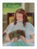 Jeune fille lisant Reproduction procédé giclée par Mary Cassatt