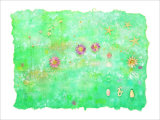 Aquarius Is Flower on Blue Japanese Paper Giclee Print by Miyuki Hasekura