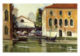 Venice Cafe Giclée-tryk af Ted Goerschner