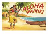 Aloha Waikiki Giclée-tryk af Kerne Erickson