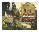 Pont Aven River Cafe Giclée-tryk af Ted Goerschner