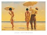 Strandtafereel met parasols, Mad Dogs Print van Vettriano, Jack