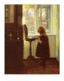 Small Girl by a Sewing Table Affischer av Carl Holsoe