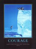 Moed, sprong van berg met daarbij Engelse tekst: Courage Print van Steve Bloom