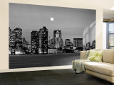 Black and White Skyline at Night, Boston, Massachusetts, USA Mural (grande)