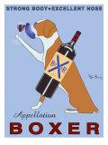 Wijn drinkende hond, Appellation Boxer met Engelse reclametekst Premium gicléedruk van Ken Bailey