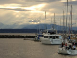 Scene of Boats in a Seattle Marina and the Olympic Mountain Range in the Distance Photographic Print by Darlyne A. Murawski