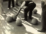 Player Measuring the Distance Between Two Bocce Balls Photographic Print by Vincenzo Balocchi