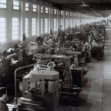Ferrari Factory, Large Room with Machines and Workers Fotografie-Druck von A. Villani